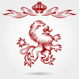 Red engraving lion and crown sketch Stock Images