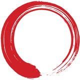 Red Enso Zen Circle Brush Vector Illustration