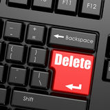 Red enter button on computer keyboard, Delete word Royalty Free Stock Photography