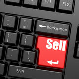 Red enter button on computer keyboard, sell word Stock Images