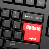Red enter button on computer keyboard, update word Royalty Free Stock Images