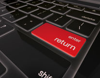 Red enter button on 3D black computer keyboard. Illustration of Red enter button on 3D black computer keyboard Stock Images