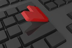Red enter button on keyboard Royalty Free Stock Images