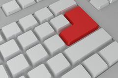 Red enter button on keyboard Royalty Free Stock Image