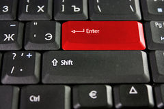 Red Enter key. On the keyboard of notebook Royalty Free Stock Photos