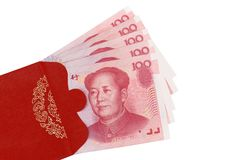Red envelop. Chinese currency in red envelop Royalty Free Stock Photo