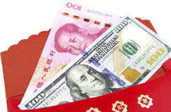 Red envelop:lucky money US dollar an China Yuan. Red envelop and Lucky money Stock Photo