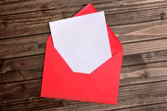 Red envelope with empty paper Stock Photography