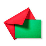 Red envelope with green card Stock Images