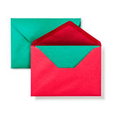 Red envelope with green card Royalty Free Stock Photography