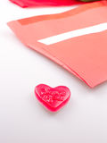 Red envelope with heart Stock Photography
