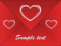 Red envelope with hearts Royalty Free Stock Image