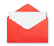 Red envelope isolated clipping path. Stock Photography