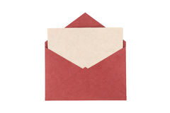 Red envelope made from natural fiber paper isolated on white bac Stock Images