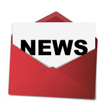 """Red envelope with news. An illustration of a red envelope with a sheet of paper with the text """"news Royalty Free Stock Image"""