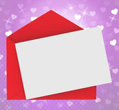 Red Envelope With Note card Shows Romance Royalty Free Stock Photography