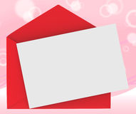 Red Envelope With Note Shows Loving Message Stock Photos