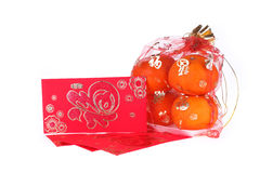 Red envelope and orange fruit of chinese new year Stock Image