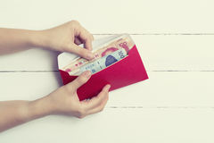 Red Envelope or red packet in pastel toned Royalty Free Stock Image
