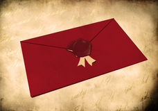 Red envelope sealed with red wax seal Royalty Free Stock Image