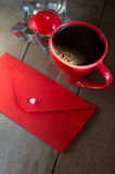 Red envelope and white heart Royalty Free Stock Images