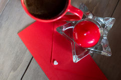 Red envelope and white heart Stock Images