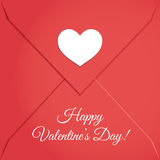 Red Envelope with White Paper Heart Royalty Free Stock Photos