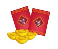 Red Envelopes and Gold Ingots for Chinese New Year Stock Images