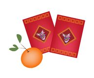Red Envelopes and Orange for Chinese New Year Stock Photography