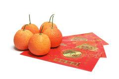 Red Envelopes and Tangerines Stock Photos