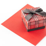 Red envoloper and scotch gift box isolated on white Stock Image