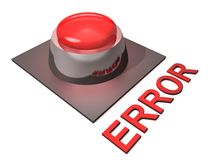 Red Error Push Button. Red glowing 3D push button with the word ERROR Stock Image