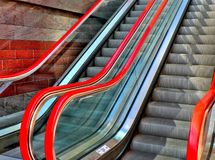 Red escalator Royalty Free Stock Image
