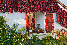 Red Espelette peppers decorating Basque house. Part of traditional Basque house with the window decorated with Red Espelette peppers drying in the wall Royalty Free Stock Photography
