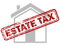 Red estate tax rubber stamp on grey house or building icon Royalty Free Stock Photos