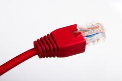 Red Ethernet cable Stock Photo