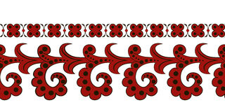 A red ethnic seamless border. Drawing of a red seamless border in ethnic russian style Stock Photography