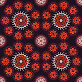 Red ethnicity round ornament, vector illustration Stock Photos