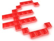 Red Euro. A Euro sign made of red blocks, isolated on a white background Stock Illustration