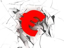 Red euro sign. 3d rendered illustration of a red euro sign on a broken surface Royalty Free Stock Photos