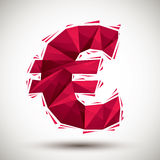 Red euro sign geometric icon made in 3d modern style, best for u. Se as symbol or design element for web or print layouts Stock Photos