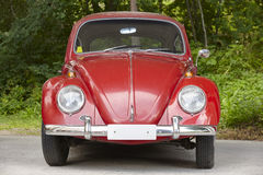 Red european classic car over a green forest background. Beetle Stock Photos