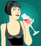 Red evening. Young girl drinking red wine vector illustration