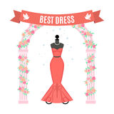Red Evening Dress. Vintage dress on mannequin. Vector. Stock Image