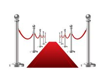 Red event carpet isolated on a white background. Royalty Free Stock Image