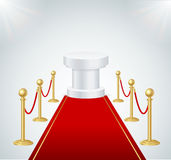 Red Event Carpet, Round Podium and Gold Rope Barrier. Vector. Red Event Carpet, Round Podium and Gold Rope Barrier Element of Important Ceremonies and Exposition Royalty Free Stock Image