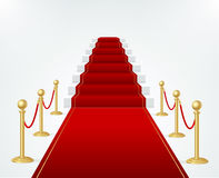 Red Event Carpet, Stair and Gold Rope Barrier. Vector Stock Photos