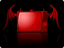 Red Evil retro TV Stock Photo