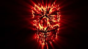 Red evil shabby head animation. Genre of horror. Scary monster face stock footage