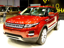 Red Evoque Range Rover. ABU DHABI, UAE - DECEMBER 10: Range Rover Evoque on display during Abu Dhabi Int'l Motor Show 2010 at Abu Dhabi Int'l Exhibition Centre Royalty Free Stock Image